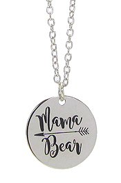 INSPIRATION MESSAGE STAMP  PENDANT NECKLACE - MAMA BEAR