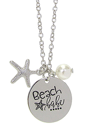 INSPIRATION MESSAGE STAMP  PENDANT NECKLACE - BEACH BABE