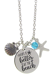 INSPIRATION MESSAGE STAMP  PENDANT NECKLACE - LIFE IS BETTER AT THE BEACH
