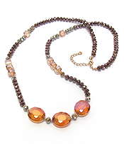 MULTI GLASS BEAD LONG NECKLACE