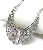 METAL FILIGREE AND CRYSTAL ANGEL WING NECKLACE