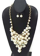 BOUTIQUE LUXURY CHUNKY PEARL STATEMENT NECKLACE EARRING SET