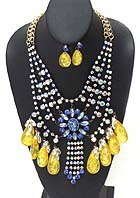 BOUTIQUE LUXURY CRYTAL STATEMENT NECKLACE EARRING SET