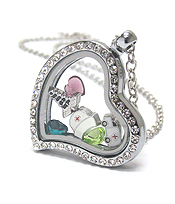 ORIGAMI STYLE FLOATING CHARM HEART LOCKET PENDANT NECKLACE - DOCTORS NURSE HOSPITAL - LOCKET OPENS AND CHARMS INCLUDED