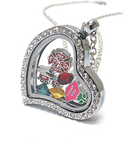 ORIGAMI STYLE FLOATING CHARM HEART LOCKET PENDANT NECKLACE - FIREFIGHTER - LOCKET OPENS AND CHARMS INCLUDED