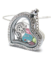 ORIGAMI STYLE FLOATING CHARM HEART LOCKET PENDANT NECKLACE - I LOVE POLICE AND SHERIFF - LOCKET OPENS AND CHARMS INCLUDED