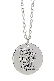 INSPIRATION MESSAGE STAMP  PENDANT NECKLACE - BLESS THE LORD OH MY SOUL
