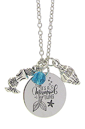 INSPIRATION MESSAGE STAMP  PENDANT NECKLACE - IT'S A MERMAID THING