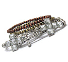 MULTI CRYSTAL DECO CROSS STACKABLE STRETCH BRACELET