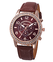 CRYSTAL FACE AND LEATHER BAND WATCH
