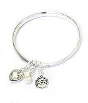 BIRTHSTONE CHARM AND MESSAGE ON BACK TWIST BANGLE BRACELET - APRIL - INNOCENT AND LOVE