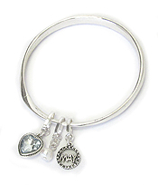 BIRTHSTONE CHARM AND MESSAGE ON BACK TWIST BANGLE BRACELET - DECEMBER - WISDOM AND WEALTH