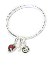 BIRTHSTONE CHARM AND MESSAGE ON BACK TWIST BANGLE BRACELET - JANUARY - CONSISTENCY AND LOYALTY