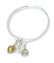 BIRTHSTONE CHARM AND MESSAGE ON BACK TWIST BANGLE BRACELET - NOVEMBER - FRIENDSHIP AND STRENGTH
