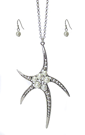 MULTI PEARL STARFISH PENDANT LONG NECKLACE SET