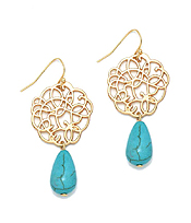 METAL FILIGREE AND TURQUOISE DROP EARRING