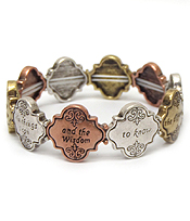 RELIGIOUS INSPIRATION QUATREFOIL SHAPE METAL FILIGREE STRETCH BRACELET