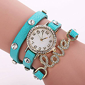 LOVE CRYSTAL STUD LONG LEATHER WRIST WRAP WATCH