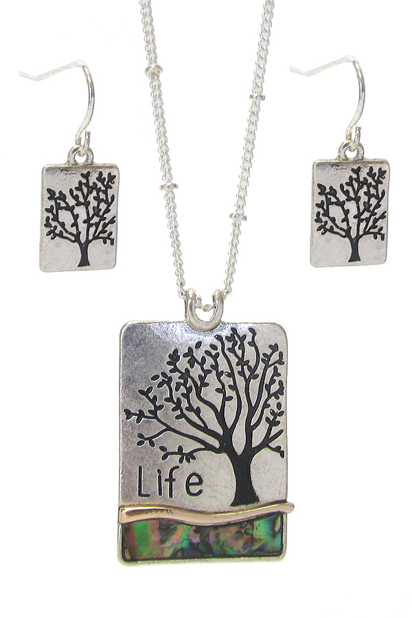 RELIGIOUS INSPIRATION PENDANT NECKLACE SET - TREE OF LIFE