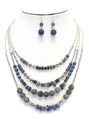 MULTI SEED BEAD MIX LAYERED NECKLACE SET