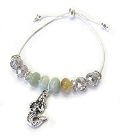 SEALIFE THEME CHARM AND FACET STONE MIX PULL TIE FRIENDSHIP BRACELET - MERMAID