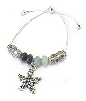 SEALIFE THEME CHARM AND FACET STONE MIX PULL TIE FRIENDSHIP BRACELET - STARFISH