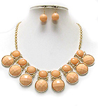 FACET PUFFY ROUND ACRYLIC STONE NECKLACE EARRING SET