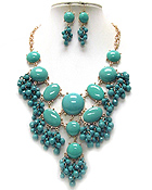 MULTI SHAPE ACRYLIC STONE AND BEAD DROP BUBBLE NECKLACE EARRING SET