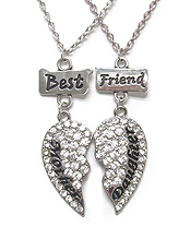 CRYSTAL HEART DOUBLE NECKLACE SET - MOTHER DAUGHTER BEST FRIEND