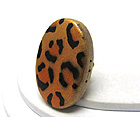 LEOPARD WOOD PRINT OVAL STRETCH RING