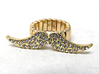 CRYSTAL DECO MUSTACHE STRETCH RING