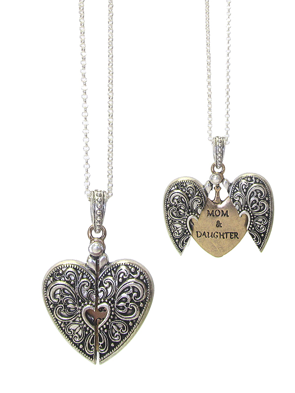 RELIGIOUS INSPIRATION MESSAGE LOCKET PENDANT NECKLACE - MOM AND DAUGHTER