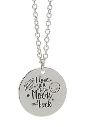 INSPIRATION MESSAGE STAMP  PENDANT NECKLACE - I LOVE YOU TO THE MOON AND BACK