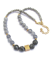 BRASS CUBE AND MULTI GENUINE STONE NECKLACE