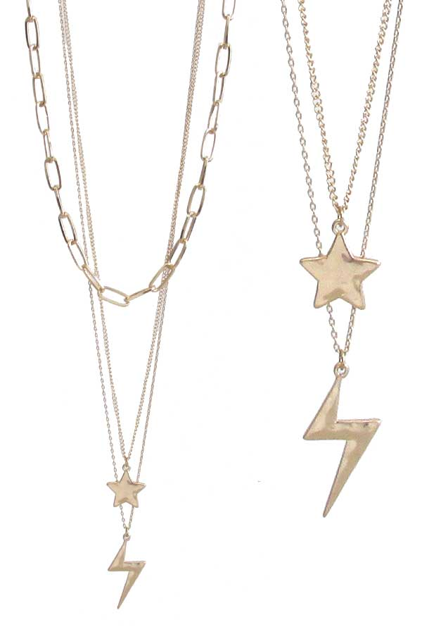 THUNDER AND STAR PENDANT MULTI LAYER CHAIN NECKLACE