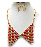 METAL COLLAR AND EPOXY DECO BIB NECKLACE EARRING SET