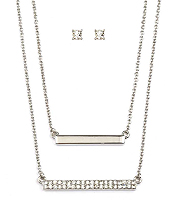 CRYSTAL DOUBLE BAR LAYER NECKLACE SET