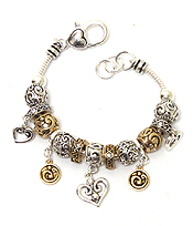 PANDORA STYLE HEART AND TEXTURED BALL CHARM BRACELET