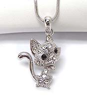 WHITEGOLD PLATING CRYSTAL KITTEN CAT PENDANT NECKLACE