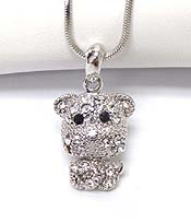 WHITEGOLD PLATING CRYSTAL DOG PENDANT NECKLACE