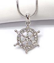WHITEGOLD PLATING CRYSTAL WHEEL  PENDANT NECKLACE
