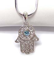 WHITEGOLD PLATING CRYSTAL HAMSA HAND  PENDANT NECKLACE