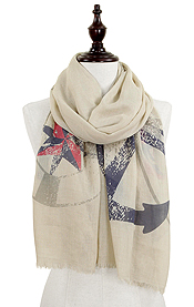 LARGE ANCHOR PRINT AND FRAYED EDGE SCARF - 30% COTTON 70% VISCOSE
