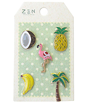 5 PIECE BROOCH SET - TROPICAL THEME