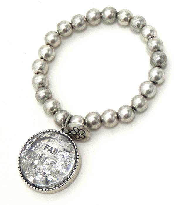RELIGIOUS THEME FLOATING CRYSTAL IN DISK CHARM STRETCH BRACELET - FAITH HOPE LOVE