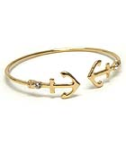 CRYSTAL ACCENT ANCHOR TIP WIRE BANGLE BRACELET