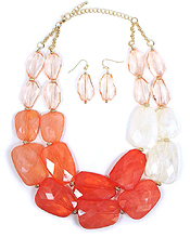 DOUBLE LAYER FACET ACRYLIC STONE MIX NECKLACE EARRING SET