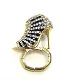 CRYSTAL AND EPOXY LADY SHOE STRETCH RING