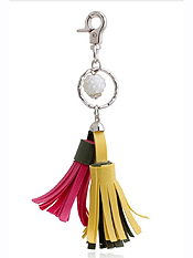 SUEDE TASSLE AND BALL DROP KEYCHAIN