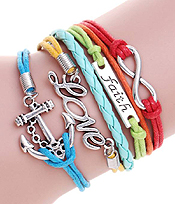 MULTI ROW LEATHERETTE WRAP BRACELET - ANCHOR LOVE FAITH